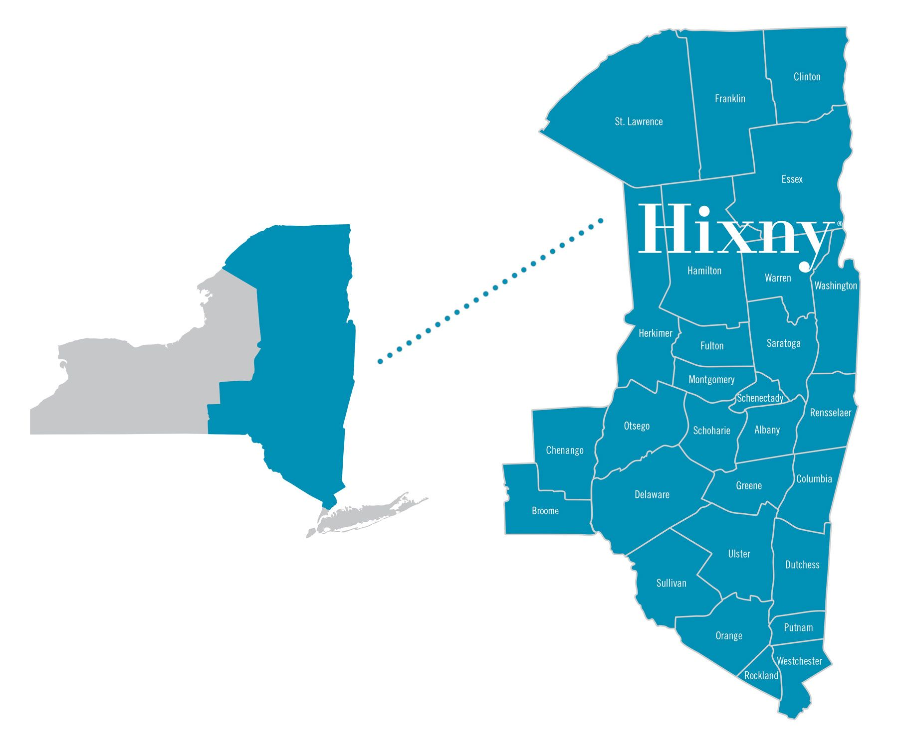 Map of New York state with eastern half highlighted and enlarged to show counties within Hixny's coverage area.
