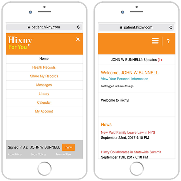 Two mobile devices, side by side, displaying the personal health dashboard navigation and welcome screens of the Patient Portal.