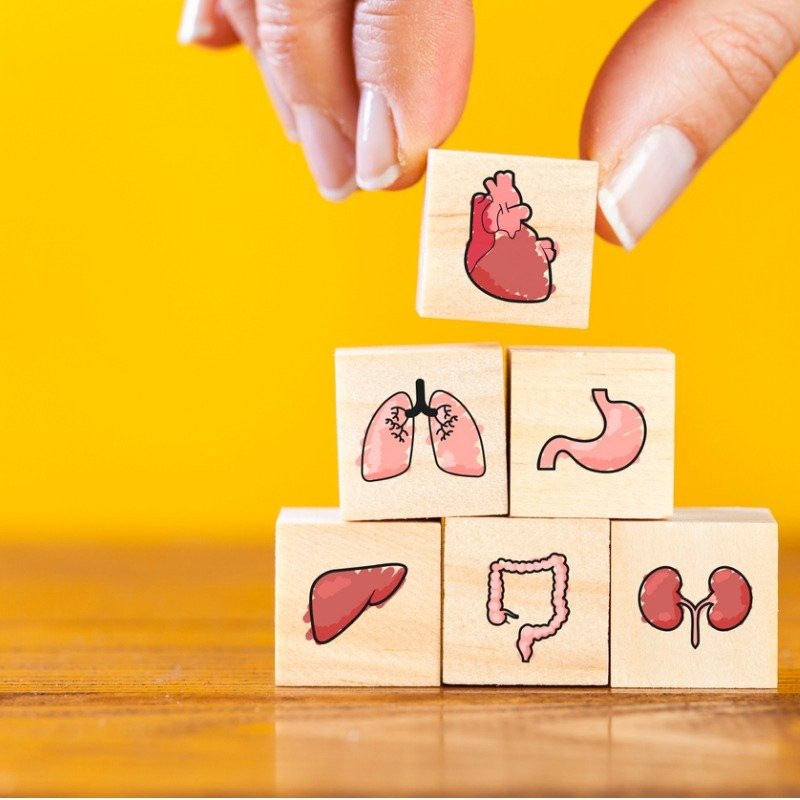 Yellow background with medical picture building blocks