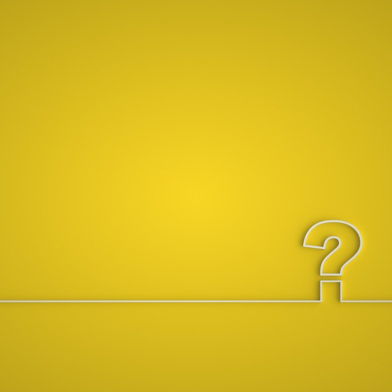 Yellow background with white outlined question mark