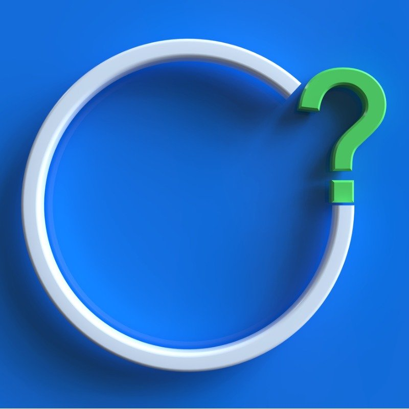 Bright blue background with white circle and green question mark