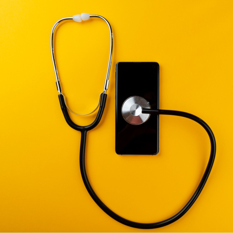 Yellow background with stethscope
